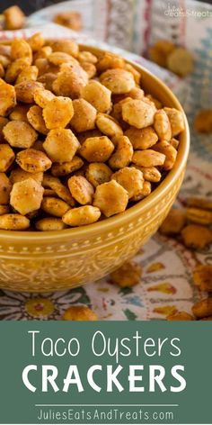 Taco Oyster Crackers Recipe ~ Quick, Easy Snack Mix Recipe that's Got a Kick to it! No One Will Be Able to Stop Munching on These! Oyster Cracker Snack, Seasoned Oyster Crackers, No Bake Oyster Cracker Recipe, Ritz Crackers, Crack Crackers, Goldfish Crackers, Salty Snacks, Quick Snacks, Yummy Snacks