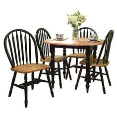5-Piece Casual Classic Dining Set in Black / Natural Wood Finish via Bed, Bath