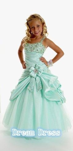 New Stock Flower Girl Dress Lake Blue Taffeta Beading Child Dress-4-6-8-10-12-14 #Handmade #BallGown #Formal