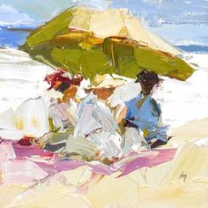 At the Beach after Edward H. Potthast, painting by artist Sally Cummings Shisler