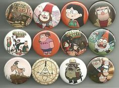 Gravity Falls pin set 2. This set is worth it just to get Shmebulock, Grenda and the Goat. All pins are 1.5 inches in diameter. All major credit cards as well as Paypal accepted. All pin orders ship f