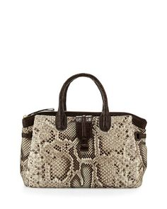 Cristina Medium Crocodile/Python Tote Bag, Natural/Crackle by Nancy Gonzalez at Neiman Marcus.