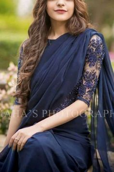 Lovely pairing of a Saree with a net blouse Indian Saris CLICK VISIT link for more details Elegant Indian Saree Click above VISIT link for Trendy Sarees, Stylish Sarees, Fancy Sarees, Fancy Blouse Designs, Saree Blouse Designs, Sari Blouse, Golden Blouse Saree, Blue Blouse, Bandeau Outfit