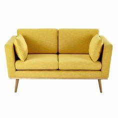 2 zitsbank, stoffen bekleding, geel Timeo
