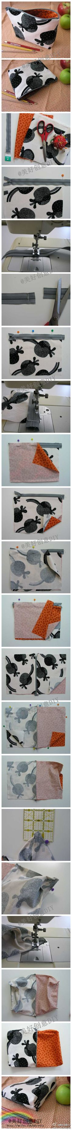 Making this cute pouch would be a great way to practice sewing a zipper