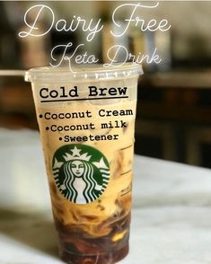 Dairy free Cold Brew ☕️ SO GREAT 😍 ❤️❤ ☑️Tag a friend who would love this drink ❤️ ~ How many of you are dairy free? This is Cold Brew coffee. Its sooo much cheaper and just as good 🤗 ~ Dairy Free Starbucks Drinks, Low Carb Starbucks Drinks, Gluten Free Drinks, Starbucks Menu, Starbucks Coffee, Yummy Drinks, Healthy Drinks, Fun Drinks, Healthy Eats