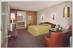 Yuma, Arizona Postcard Hyatt Chalet motel, Room Interior View c1960s Unused