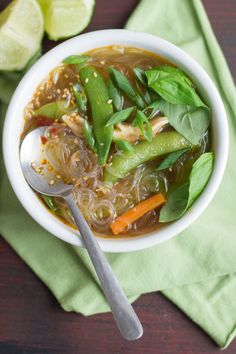 Tender veggies and squishy, slurpable noodles swim in spicy broth in this deliciously satisfying hot and sour glass noodle soup.  First off, let me just say that this is not a traditional hot and sour