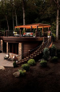 Backyard seating...patio...lighted curve stairway <3