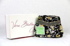 NIB New VERA BRADLEY Hannah Yellow Black 100% Cotton BIRD PURSE Handbag Tote