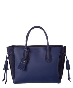 LONGCHAMP Longchamp Penelope Fantaisie Medium Leather &Amp; Suede Tote'. #longchamp #bags #hand bags #suede #tote #lining #