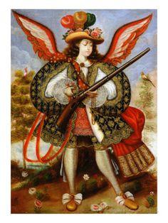 Angel Carrying Arquebus, 18th cen., Cuzco school