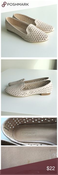 """Topshop Misty Flats """"Misty"""" flats. Suede-like light pink material with laser cut design. Excellent condition! Only flaw is one minor mark on inside and sticker marks on bottom of shoe. Overall excellent condition! Topshop Shoes Flats & Loafers"""