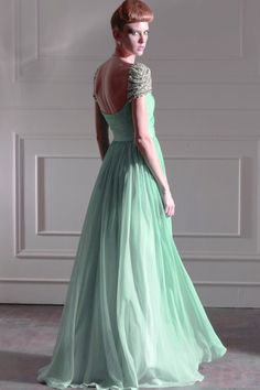 Light Green Sheath Column Tank Sleeve Square Neckline Long Evening Dress Gown