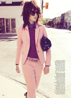 Pink/peach with some serious attitude.    Jenna Earle Suits Up for Flare September, Lensed by Andrew Soule