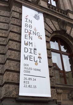 Promotional banner on the exterior Museum für Kommunikation in Berlin. Museum Branding, Event Branding, Promotional Banners, Promotional Design, Flag Design, Banner Design, Signage Design, Branding Design, Street Banners