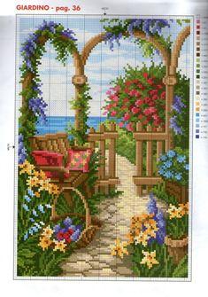 Pretty pathway X-stitch pattern Cross Stitch House, Cross Stitch Art, Cross Stitch Flowers, Cross Stitch Designs, Cross Stitching, Cross Stitch Embroidery, Cross Stitch Patterns, Cross Stitch Landscape, Le Point
