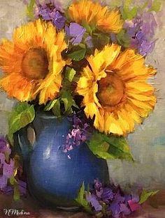 Dream Sunflowers and Dallas Arboretum Blooms by Texas Flower Artist Nancy Medina, painting by artist Nancy Medina