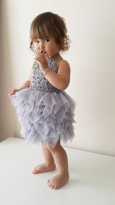 Baby Tulle Dress with Lace Stretch Crochet Bodice. Baby tutu dress in lilac, red, silver gray, ivory and more