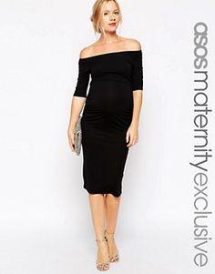 ASOS Maternity – Kleid mit Bardot-Ausschnitt und halbem Arm