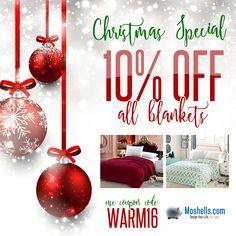 Christmas is less than a week away, time is running out for that last minute shopping! Starting today and lasting all week we're offering 10% off our entire blanket collection. Shop now & save!  Moshells.com/blankets-1