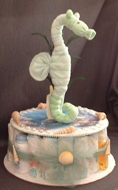 Ocean Seahorse Diaper Cake Baby Shower Gift Under the Sea Centerpiece Baby Shower Diapers, Baby Shower Cakes, Baby Shower Parties, Baby Shower Gifts, Ocean Baby Showers, Mermaid Baby Showers, Diaper Crafts, Baby Crafts, Babyshower