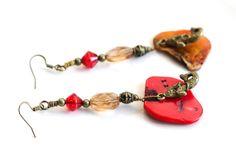 Red Mermaid Beach Earrings Shell Fossil by MusingTreeStudios, $18.99