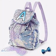 NWT Justice Girls Tiger Cat Initial Flip Sequin MINI  Backpack Choose Letter!