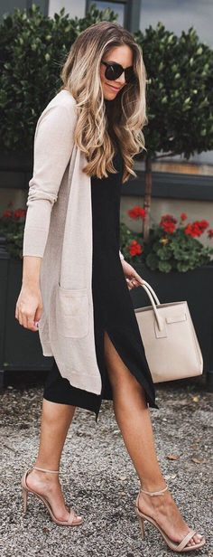 summer outfits  Beige Cardigan + Black Midi Dress + Nude Sandals