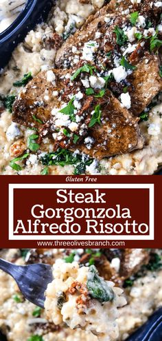 Steak Gorgonzola Alfredo Risotto recipe is a Copycat Olive Garden Italian dish in risotto form. Beef, blue cheese, spinach, and sundried tomatoes. Italian Recipes, Beef Recipes, Cooking Recipes, Healthy Recipes, Barbecue Recipes, Barbecue Sauce, Grilling Recipes, Best Italian Dishes, Budget Cooking