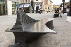 Mild steel seat in Liverpool. Beautiful tiers.