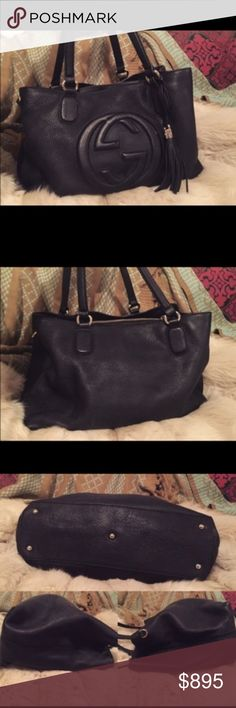 authentic Gucci soho black. pristine condition black soho, medium. worn less than four times, has extra pouch in the middle. outside body like new, inside is excellent. 🌹 Gucci Bags Shoulder Bags