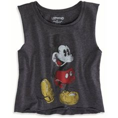 American Eagle Outfitters LST & FND Mickey Mouse Muscle Tank ($15) ❤ liked on Polyvore featuring tops, shirts, tank tops, tanks, grey, graphic crop tops, crop tank, mickey mouse tank top, sleeveless tank tops and crop top