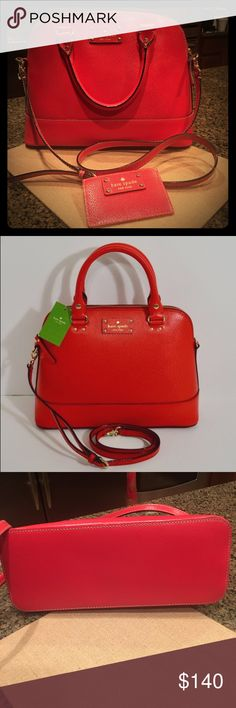 ♠️️Kate Spade♠️️ Wellesley Small Rachelle Bag ♠️️Kate Spade♠️️ Wellesley Small Rachelle Bag in Cherry Liqueur, authentic in near new condition inside and out. No rubs or sign if any wear on stitching or edges or on handles and shoulder straps. Zipper and lining also in perfect condition. No dust bag. ❤️ Check out other listing for credit card holder for a matching item. ❤️ 11 x 8.75 x 5 ❤️ kate spade Bags Shoulder Bags