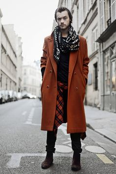 Skull Scarf, Red Coat, Black Tshirt, Stripes Shirt, Black Leather Pant, Brown Velvet Boots