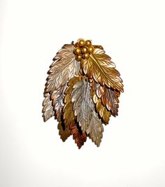 Large Vintage Copper Pewter and Gold Tone Metal Leaf by Gallery122