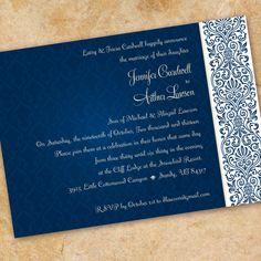 midnight blue wedding invitation cobalt damask by CeceliaJane, $20.00