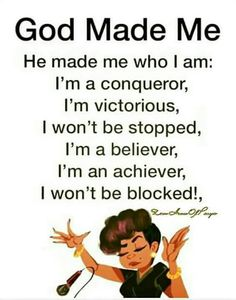 God made me. I am His Child. Spiritual Quotes, Positive Quotes, Motivational Quotes, Inspirational Quotes, Religious Quotes, Positive Affirmations, Positive Vibes, Funny Quotes, Queen Quotes