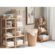 With 3 slatted shelves, this eco-friendly bamboo etagere is the perfect spot to stow fluffy towels and a basket of guest-worthy soaps.