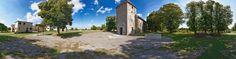 Dieses Panorama zeigt die Kirchenruine St. Rochus im ehemaligen Dorf Wollseifen in der Nähe von Vogelsang im Nationalpark Eifel in Deutschland. Für mehr Informationen besuchen Sie bitte: http://www.nrw-stiftung.de und www.vogelsang-ip.de