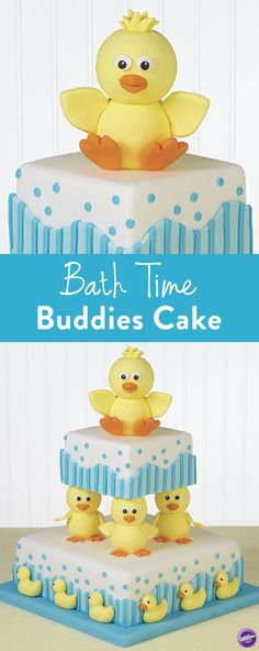 Bath Time Buddies Cake - A cute baby shower cake or a baby's birthday cake, these rubber duckies are shaped from fondant and contribute saucy silhouettes to a multi-tiered cake. Use the Wilton Rubber Ducky Candy Mold and yellow-tinted fondant to create the ducks swimming around the bottom layer.
