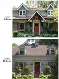 Cape cod renovated into craftsman style home shutters for Craftsman style window boxes