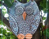 Hand made Owl Wall Hanging - Pottery Stoneware Garden Ornament