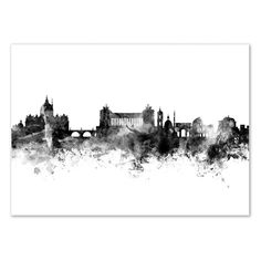 Art-Poster - Rome Italy Skyline - Illustration - Designed by Michael Tompsett. Art-Poster and prints published by Wall Editions Monuments, Rome Painting, Italy Tattoo, Skyline Tattoo, Skyline Painting, Skyline Silhouette, Illustrations, Rome Italy, White Art