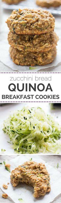 Breakfast cookies made with QUINOA that taste like zucchini bread! #glutenfree #zucchini #cookie