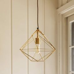 3D gold plated diamond pendant light with adjustable height cord