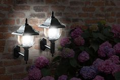 2x LED Solar Power Wall Lamps