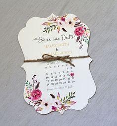 Boho Wedding Save the date, Floral Wedding Save the Date, Modern Wedding…