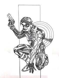 Winter Soldier Wondercon 2013 Sketch, in Chris Abel's Original Art - Comics - Sketches Comic Art Gallery Room Avengers Coloring Pages, Winter Soldier, Comic Art, Art Gallery, Original Art, Sketches, Deviantart, Cartoon, The Originals