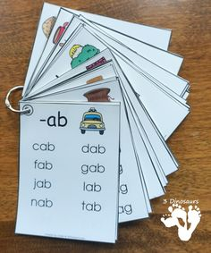 These CVC Word Family Wall Cards are very fun to use. One of the first sets of words you start learning to read and CVC word family words. Word Family Activities, Cvc Word Families, Preschool Learning Activities, Rhyming Preschool, Phonics Lessons, Phonics Words, Cvc Words, 3 Letter Words, Phonics Reading